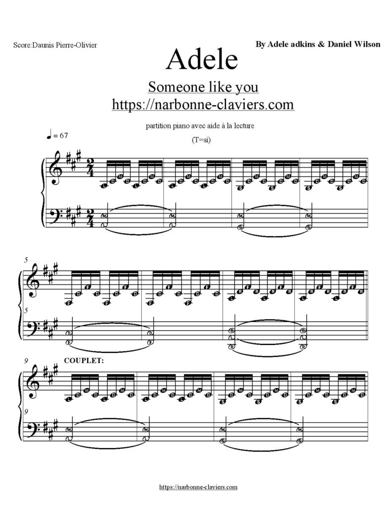 Connu partition piano adele someone like you Archives - Cours de piano  DQ43