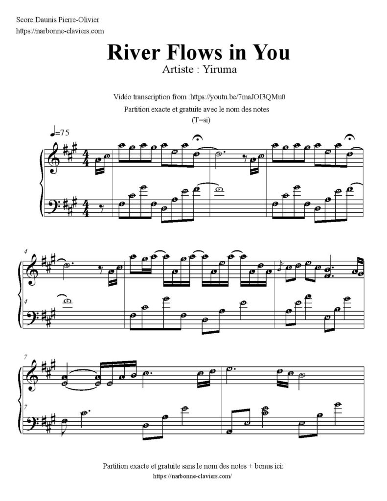 yiruma river flows in you partition gratuite free sheet music