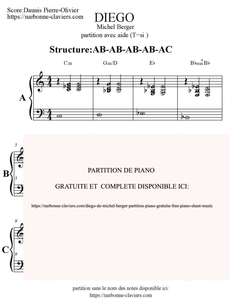 Extrêmement CHANDELIER de SIA piano partition gratuite free sheet music DS01